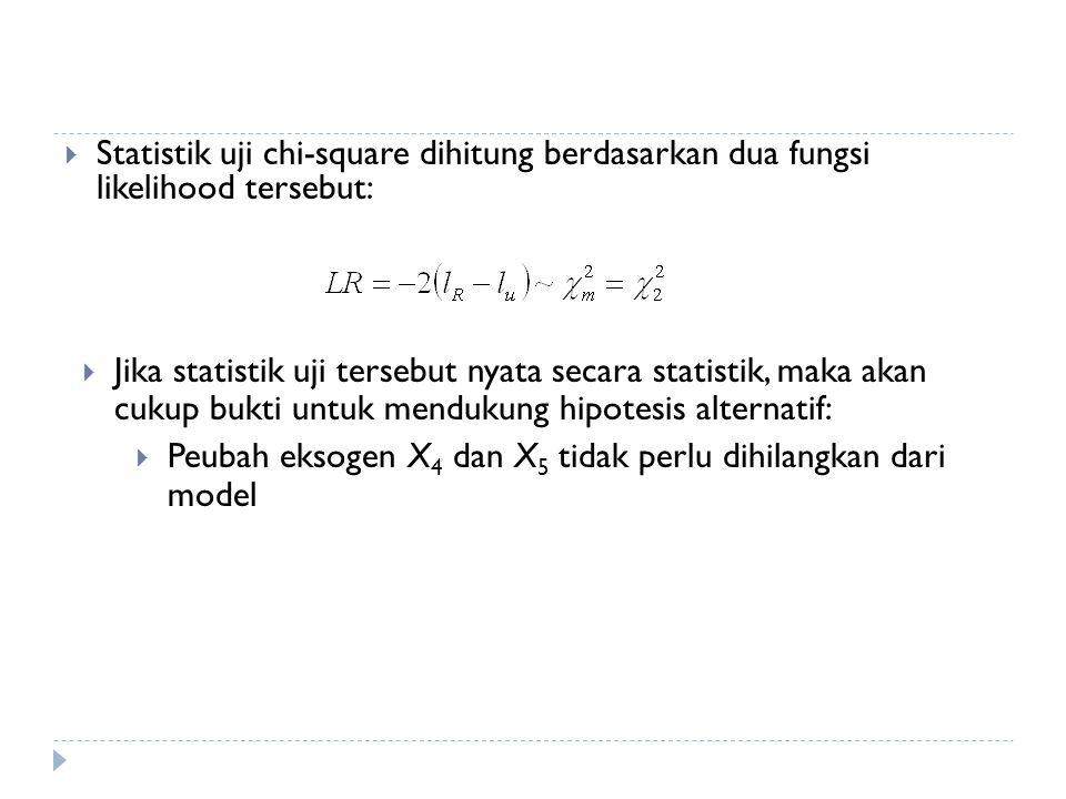 Statistik uji chi-square dihitung berdasarkan dua fungsi likelihood tersebut: