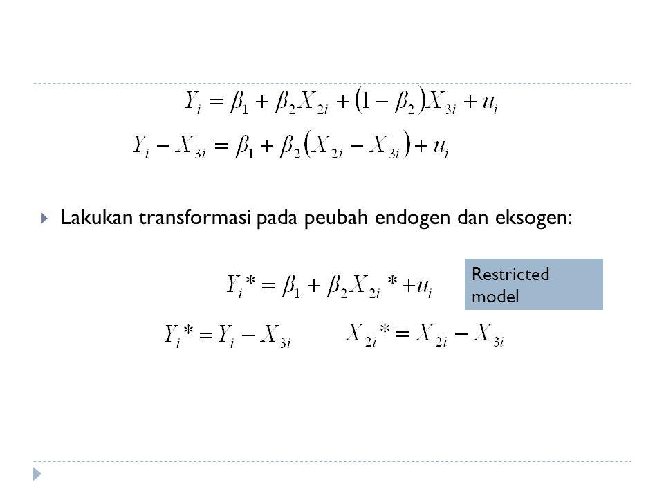 Lakukan transformasi pada peubah endogen dan eksogen: