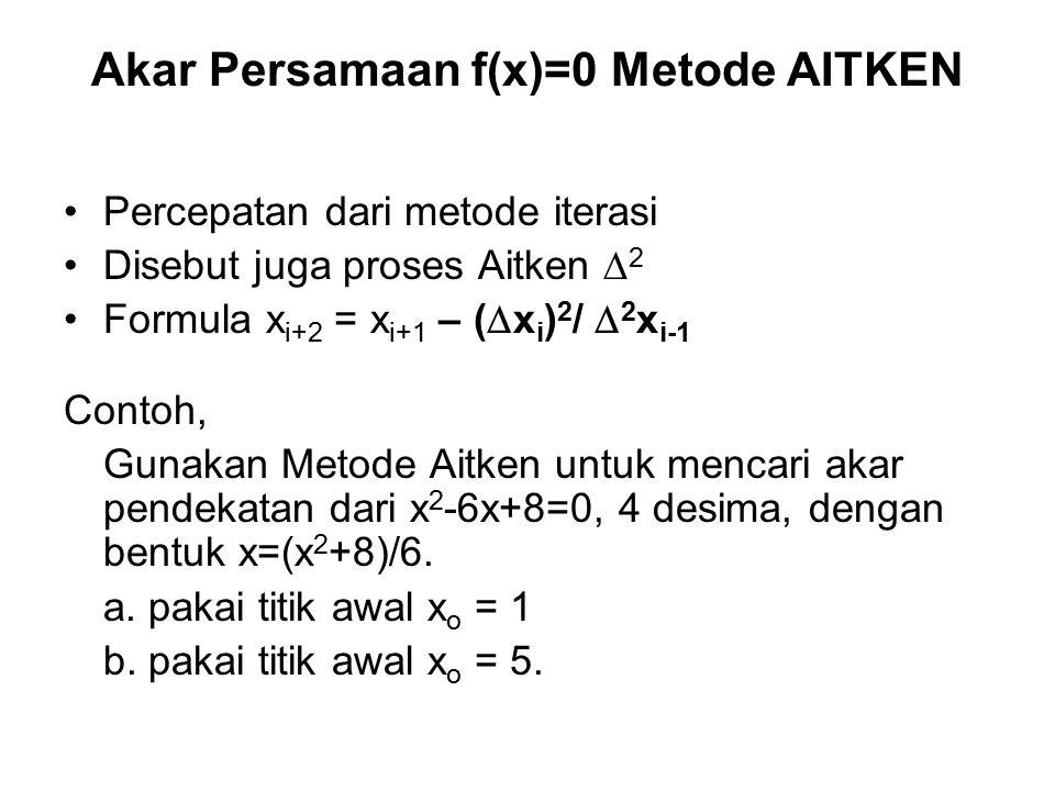 Akar Persamaan f(x)=0 Metode AITKEN