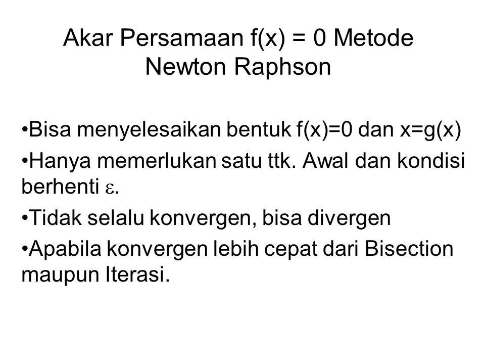 Akar Persamaan f(x) = 0 Metode Newton Raphson