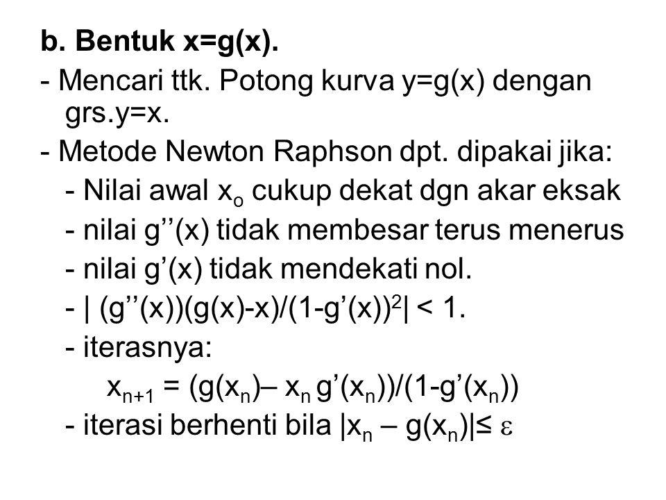 b. Bentuk x=g(x). - Mencari ttk. Potong kurva y=g(x) dengan grs.y=x. - Metode Newton Raphson dpt. dipakai jika:
