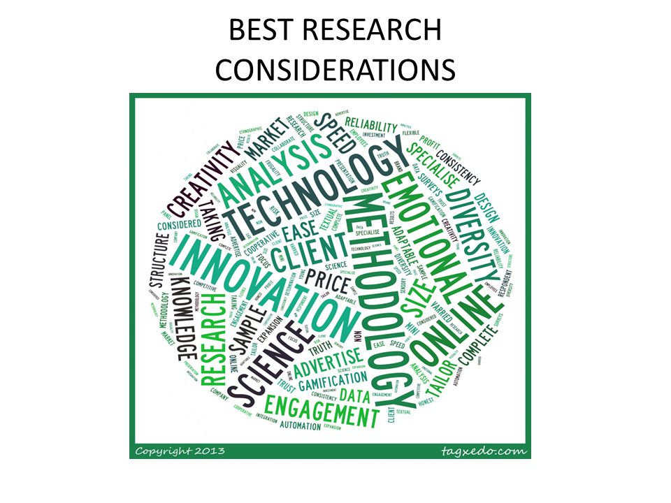 BEST RESEARCH CONSIDERATIONS