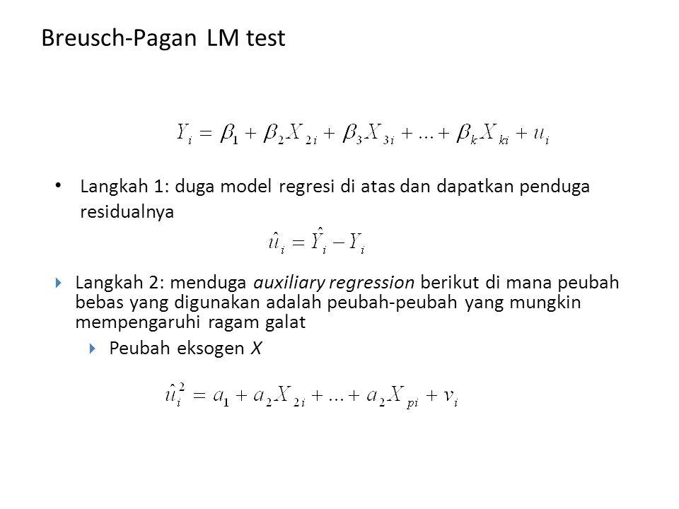 Breusch-Pagan LM test Langkah 1: duga model regresi di atas dan dapatkan penduga residualnya.