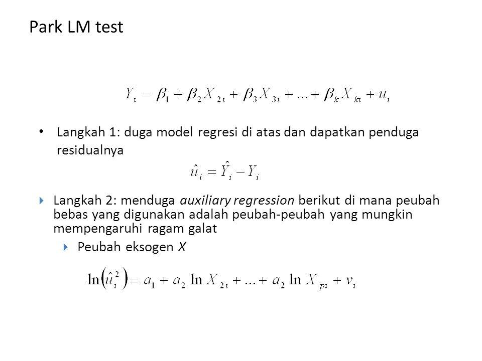 Park LM test Langkah 1: duga model regresi di atas dan dapatkan penduga residualnya.