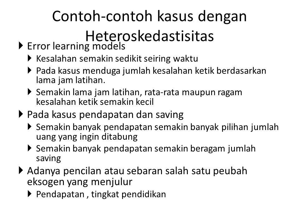 Contoh-contoh kasus dengan Heteroskedastisitas