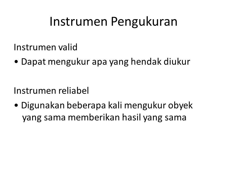Instrumen Pengukuran Instrumen valid