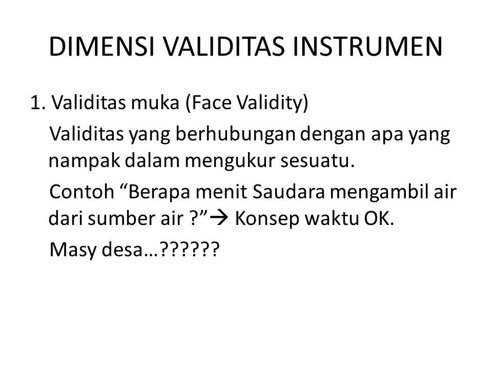 DIMENSI VALIDITAS INSTRUMEN