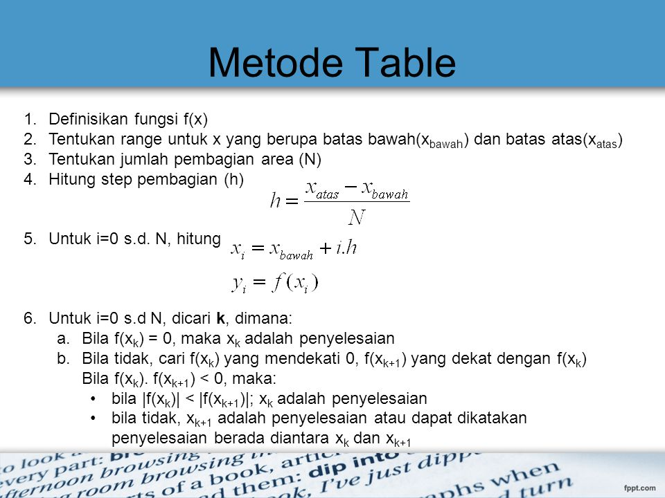 Metode Table Definisikan fungsi f(x)
