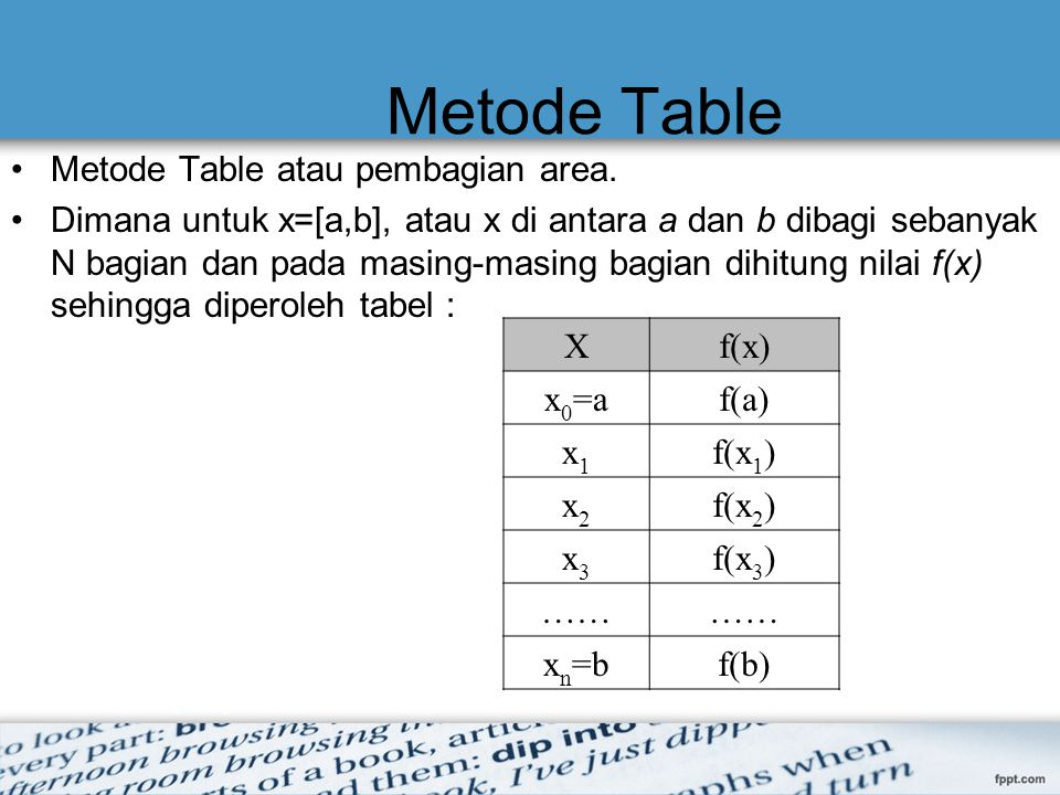 Metode Table Metode Table atau pembagian area.