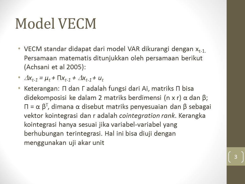 Model VECM VECM standar didapat dari model VAR dikurangi dengan xt-1. Persamaan matematis ditunjukkan oleh persamaan berikut (Achsani et al 2005):