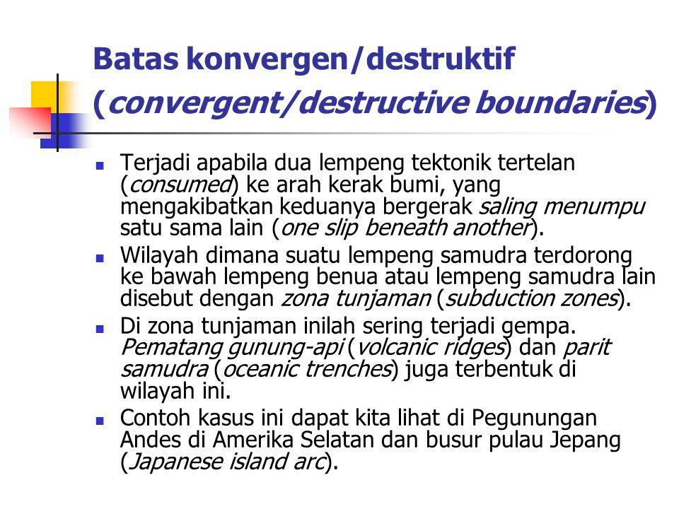 Batas konvergen/destruktif (convergent/destructive boundaries)