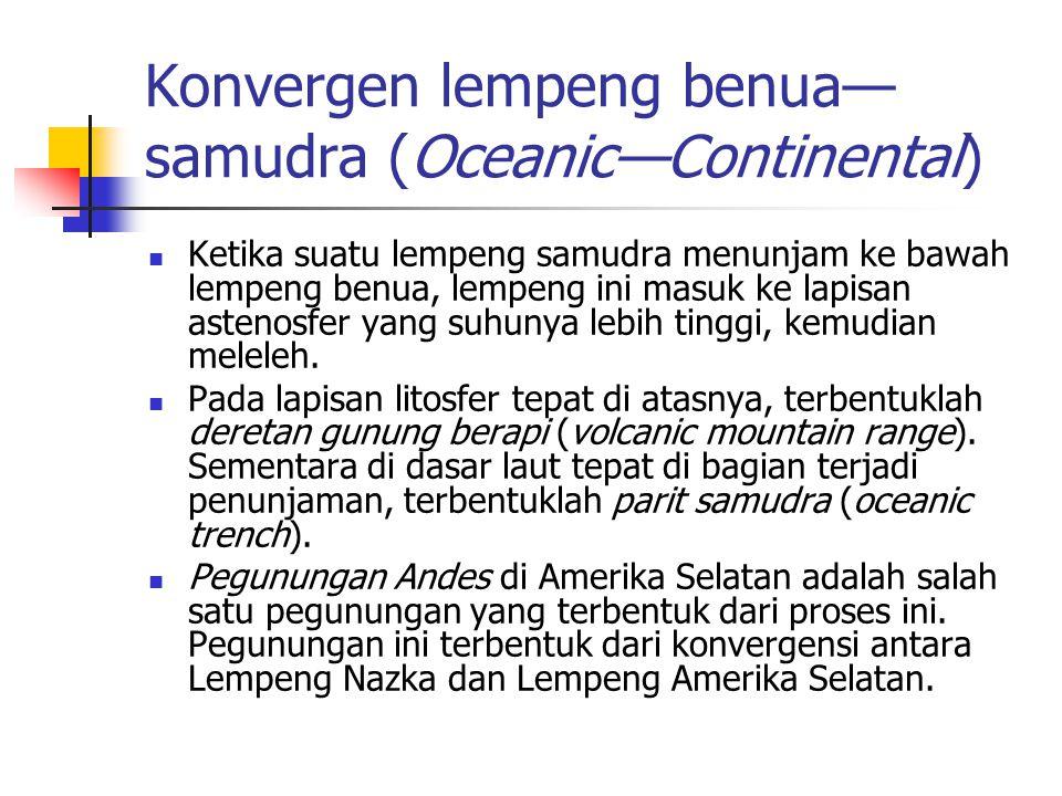 Konvergen lempeng benua—samudra (Oceanic—Continental)