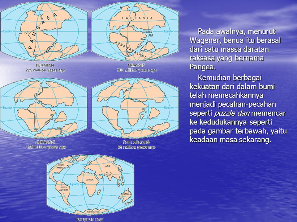 Pada awalnya, menurut Wagener, benua itu berasal dari satu massa daratan raksasa yang bernama Pangea.