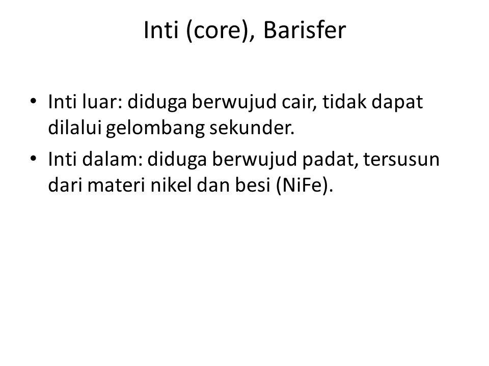 Inti (core), Barisfer Inti luar: diduga berwujud cair, tidak dapat dilalui gelombang sekunder.