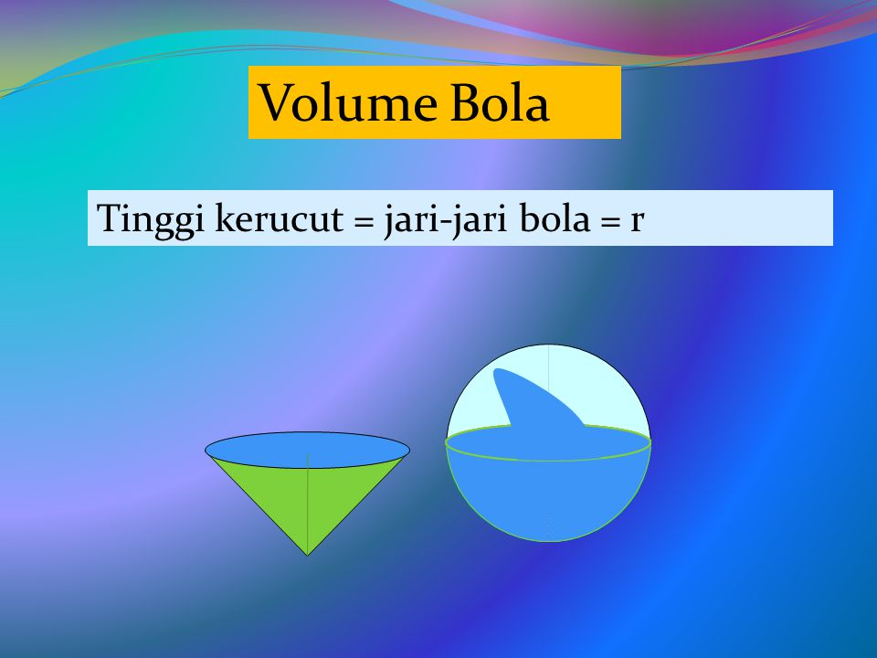 Volume Bola Tinggi kerucut = jari-jari bola = r
