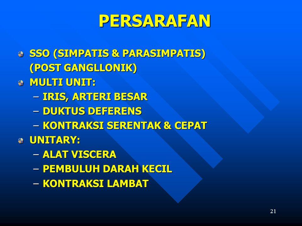 PERSARAFAN SSO (SIMPATIS & PARASIMPATIS) (POST GANGLLONIK) MULTI UNIT: