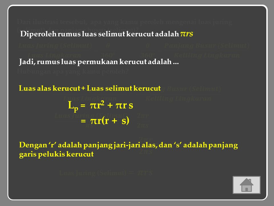 Lp = πr2 + πr s = 2πr s 𝜽 = πr(r + s)