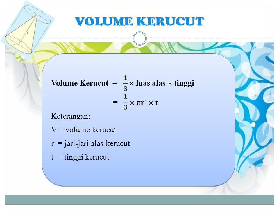 VOLUME KERUCUT Volume Kerucut =  luas alas  tinggi =  πr²  t