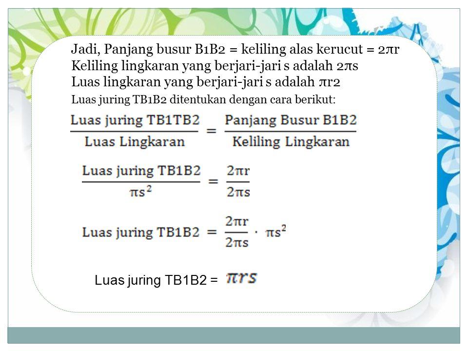 Jadi, Panjang busur B1B2 = keliling alas kerucut = 2πr