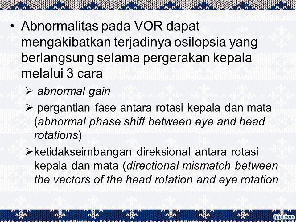 Abnormalitas pada VOR dapat mengakibatkan terjadinya osilopsia yang berlangsung selama pergerakan kepala melalui 3 cara