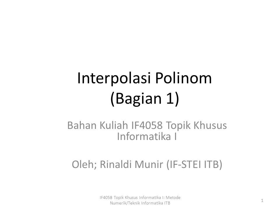 Interpolasi Polinom (Bagian 1)