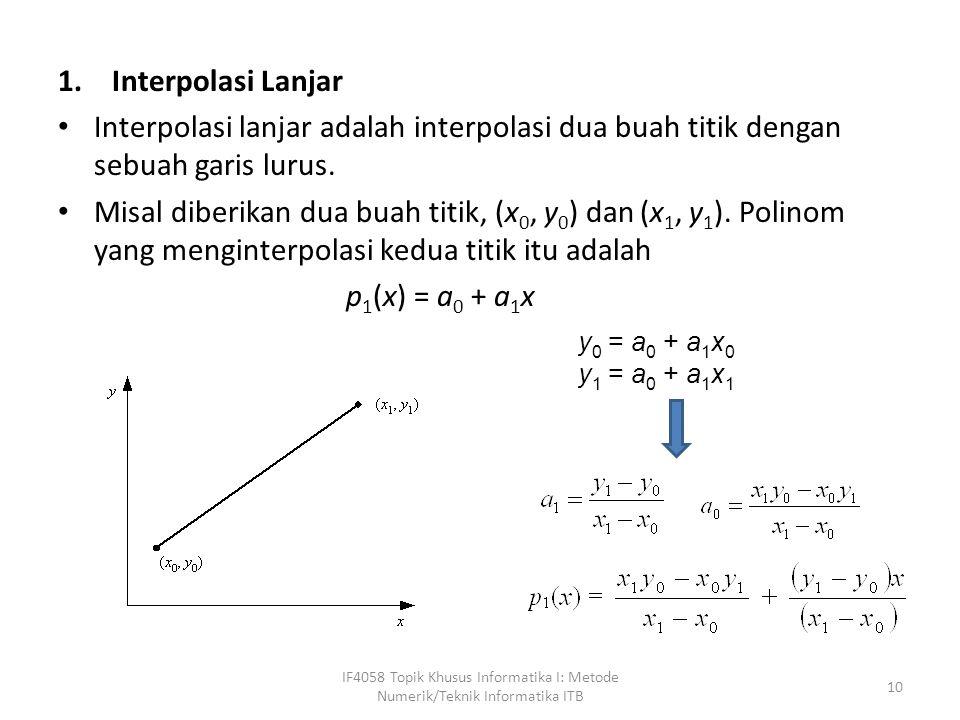Interpolasi Lanjar Interpolasi lanjar adalah interpolasi dua buah titik dengan sebuah garis lurus.