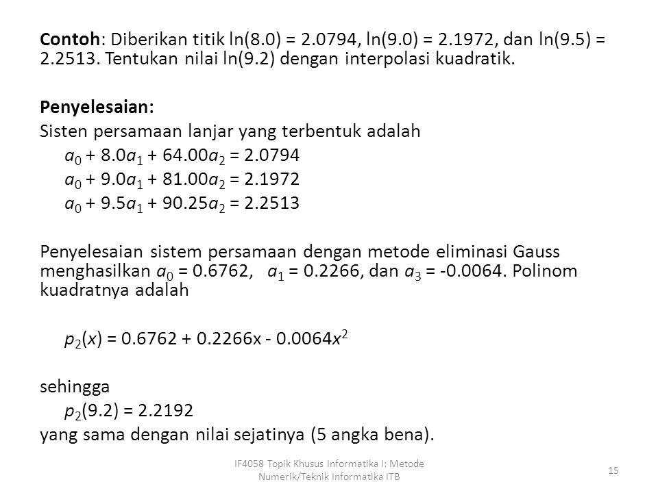 Contoh: Diberikan titik ln(8. 0) = 2. 0794, ln(9. 0) = 2