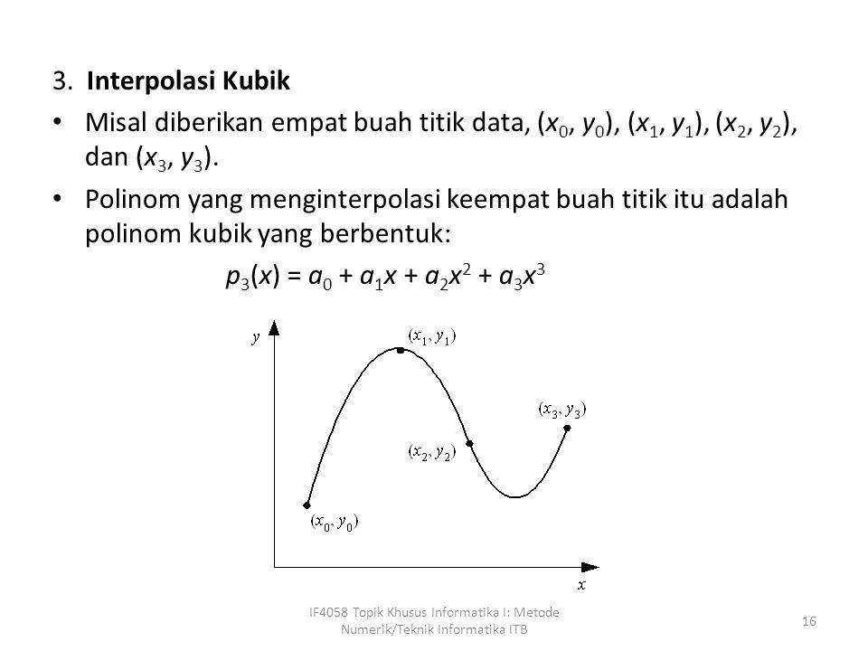 3. Interpolasi Kubik Misal diberikan empat buah titik data, (x0, y0), (x1, y1), (x2, y2), dan (x3, y3).