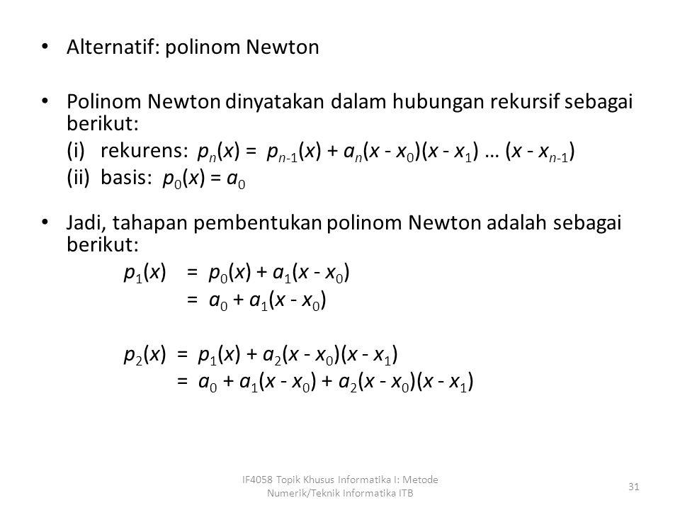 Alternatif: polinom Newton