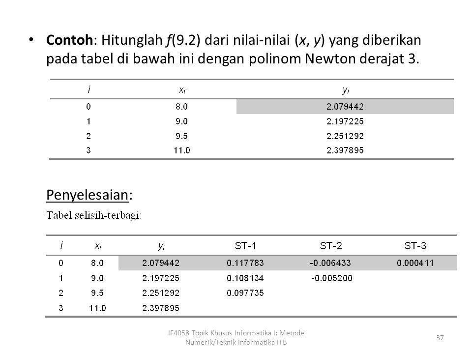 Contoh: Hitunglah f(9.2) dari nilai-nilai (x, y) yang diberikan pada tabel di bawah ini dengan polinom Newton derajat 3.