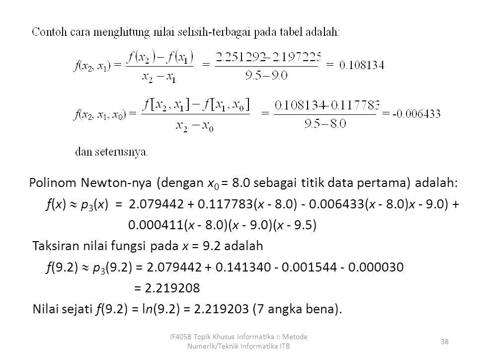 Polinom Newton-nya (dengan x0 = 8