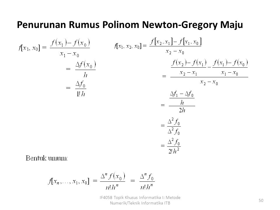 Penurunan Rumus Polinom Newton-Gregory Maju