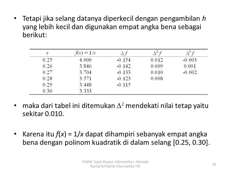 Tetapi jika selang datanya diperkecil dengan pengambilan h yang lebih kecil dan digunakan empat angka bena sebagai berikut: