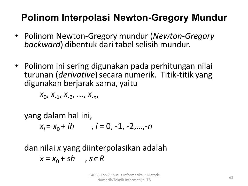 Polinom Interpolasi Newton-Gregory Mundur