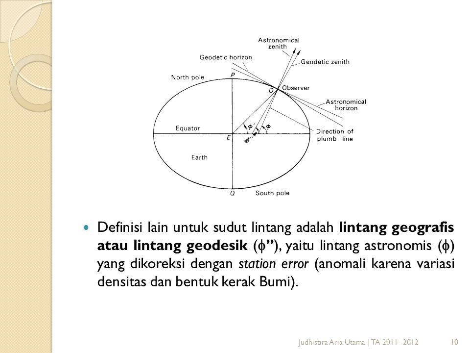 Definisi lain untuk sudut lintang adalah lintang geografis atau lintang geodesik (''), yaitu lintang astronomis () yang dikoreksi dengan station error (anomali karena variasi densitas dan bentuk kerak Bumi).