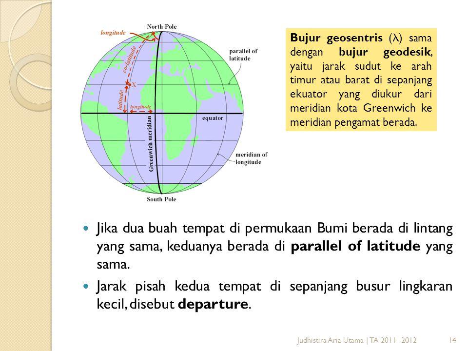 Bujur geosentris () sama dengan bujur geodesik, yaitu jarak sudut ke arah timur atau barat di sepanjang ekuator yang diukur dari meridian kota Greenwich ke meridian pengamat berada.