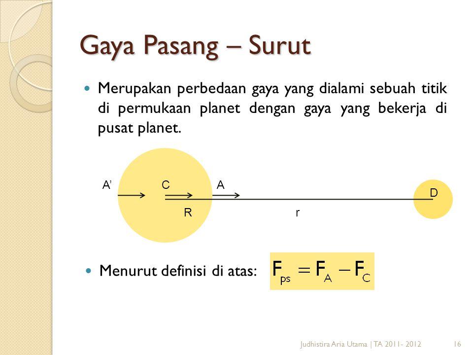 Gaya Pasang – Surut Merupakan perbedaan gaya yang dialami sebuah titik di permukaan planet dengan gaya yang bekerja di pusat planet.