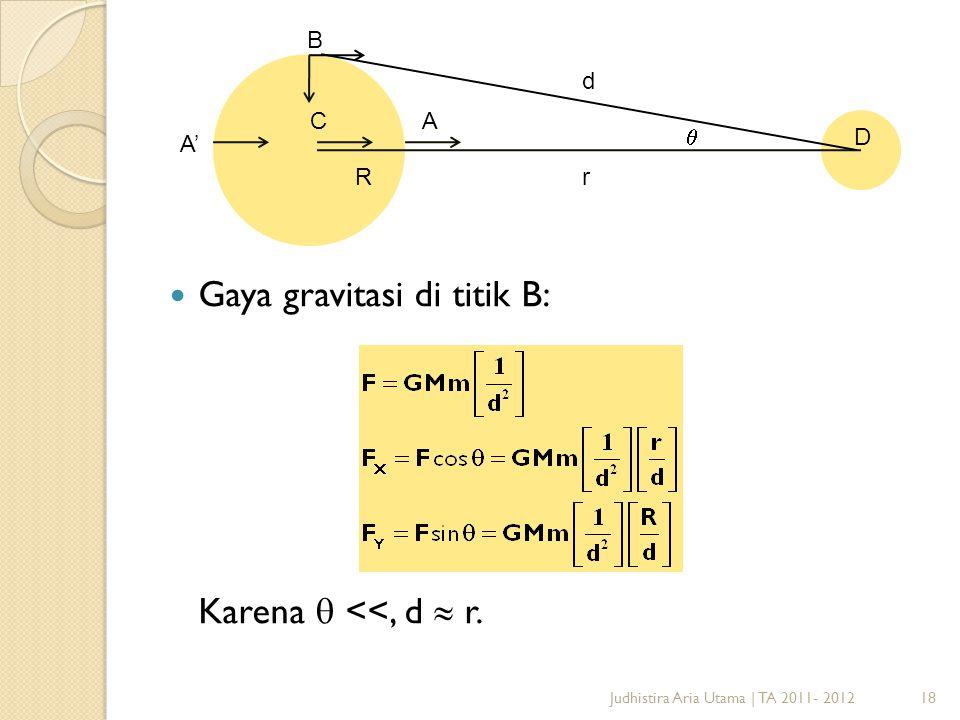 Gaya gravitasi di titik B: