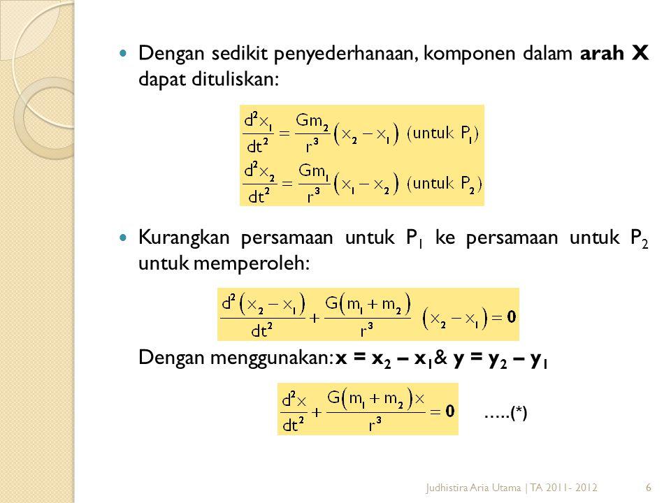 Dengan sedikit penyederhanaan, komponen dalam arah X dapat dituliskan: