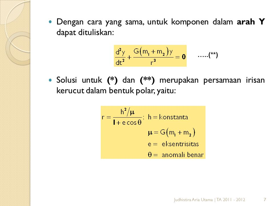 Dengan cara yang sama, untuk komponen dalam arah Y dapat dituliskan: