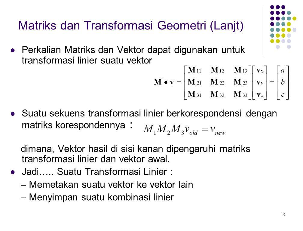 Matriks dan Transformasi Geometri (Lanjt)