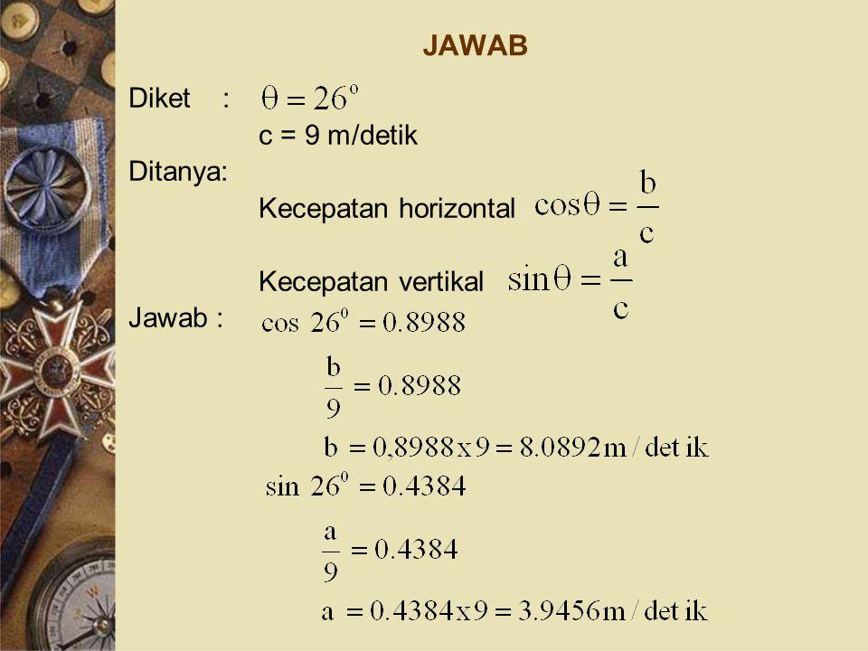 JAWAB Diket : c = 9 m/detik Ditanya: Kecepatan horizontal