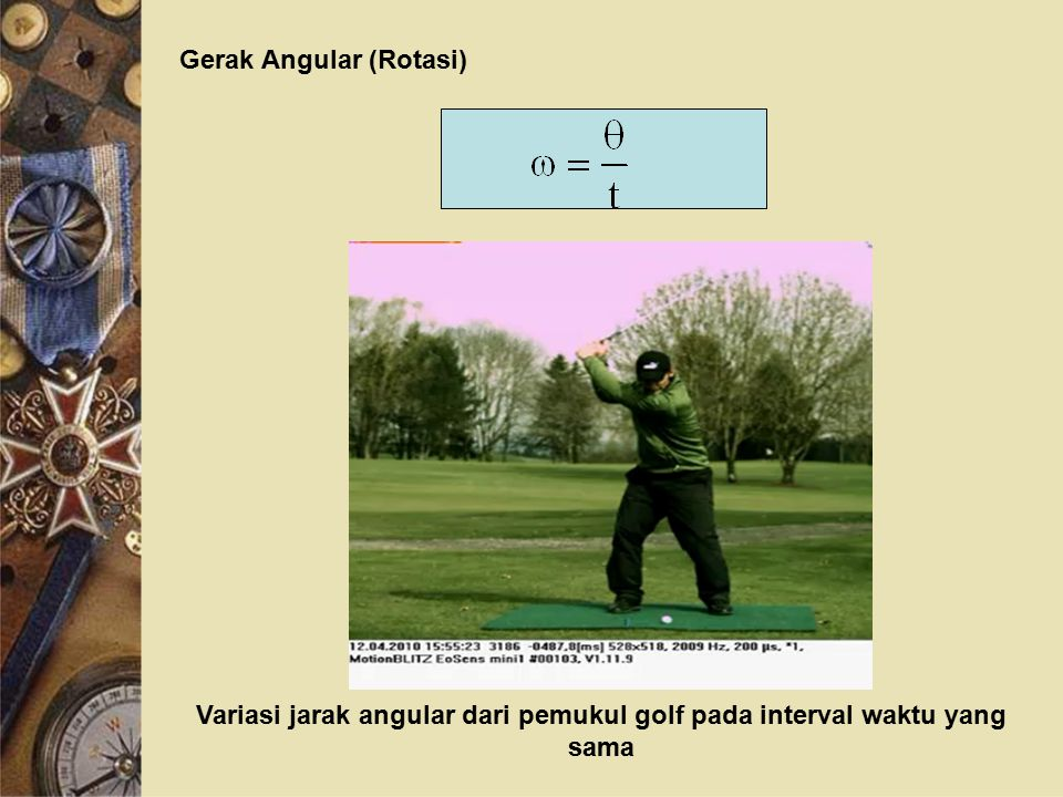 Variasi jarak angular dari pemukul golf pada interval waktu yang sama