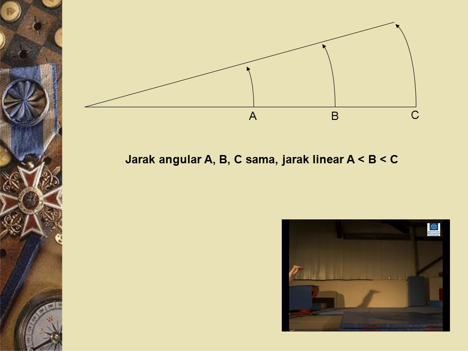 A B C Jarak angular A, B, C sama, jarak linear A < B < C