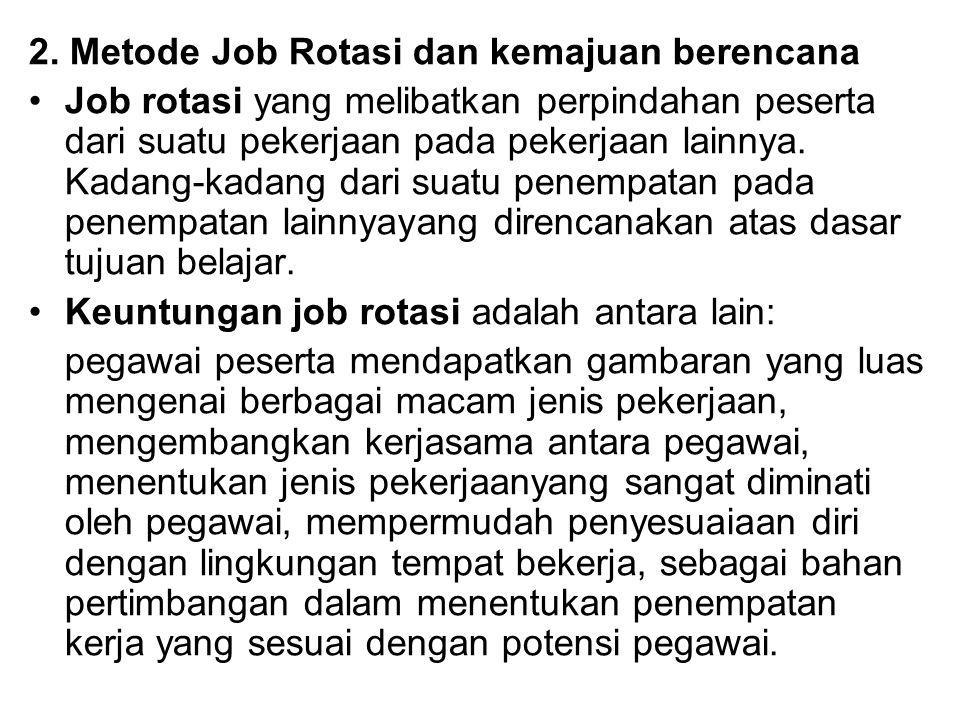 2. Metode Job Rotasi dan kemajuan berencana