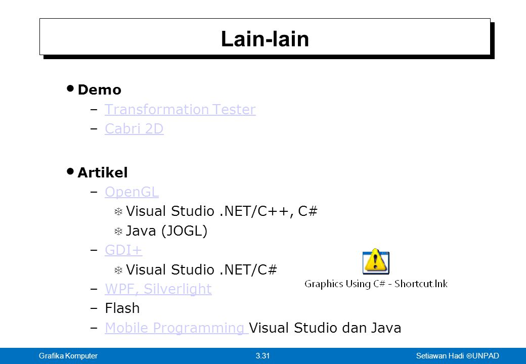 Lain-lain Demo Transformation Tester Cabri 2D Artikel OpenGL