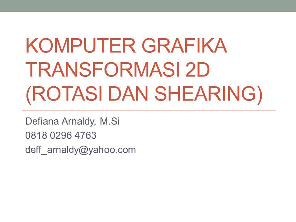 KOMPUTER GRAFIKA TRANSFORMASI 2D (ROTASI DAN SHEARING)