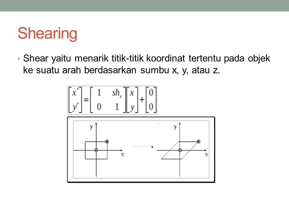 Shearing Shear yaitu menarik titik-titik koordinat tertentu pada objek ke suatu arah berdasarkan sumbu x, y, atau z.