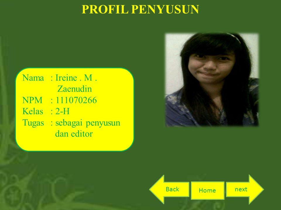 PROFIL PENYUSUN Nama : Ireine . M . Zaenudin NPM : 111070266