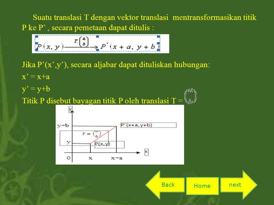 Suatu translasi T dengan vektor translasi mentransformasikan titik P ke P' , secara pemetaan dapat ditulis : Jika P'(x',y'), secara aljabar dapat dituliskan hubungan: x' = x+a y' = y+b Titik P disebut bayagan titik P oleh translasi T =